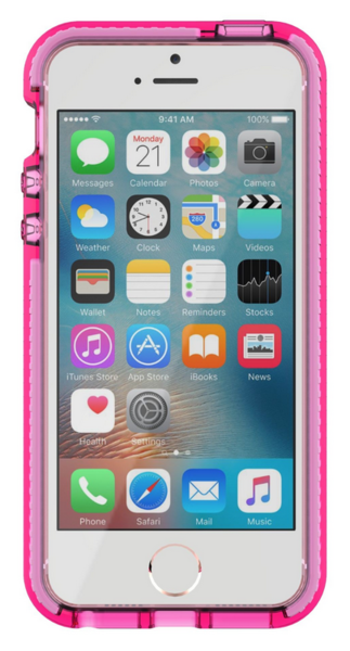 Funda dura para iPhone 5/5s/SE Evo Mesh Tech21 Transparente/ Rosado