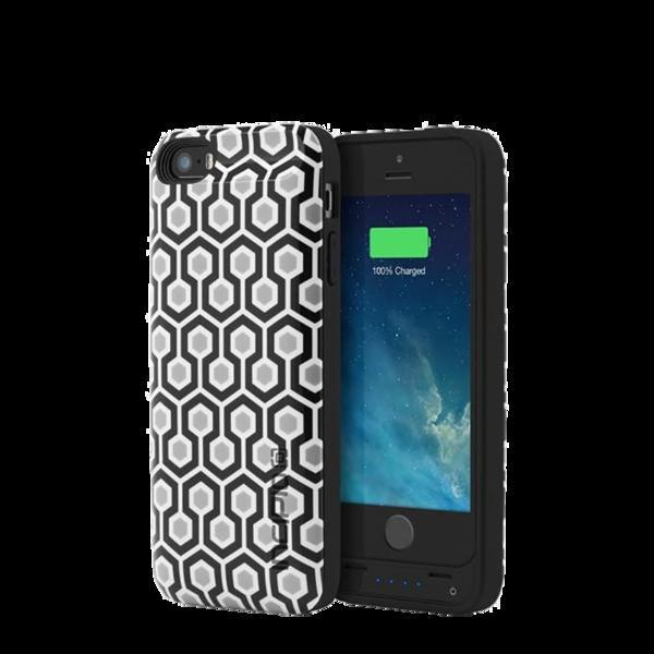 Funda con batería para iPhone 5/5s/SE Incipio OffGrid Print Geometric Negro / Gris / Blanco
