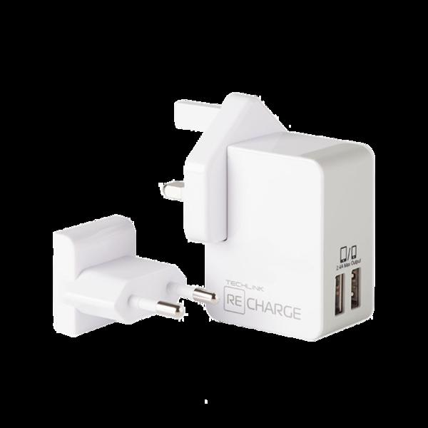 Cargador 220 Volts USB Dual 2.4A Techlink