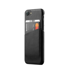 Funda cuero wallet para iPhone 7 Mujjo Negro