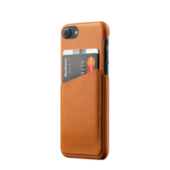 Funda cuero wallet para iPhone 7 Mujjo Café